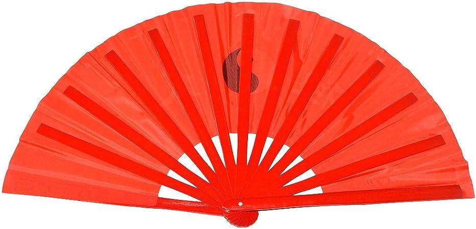 Abanico plegable de bambú, para práctica de artes marciales, estilo chino, Taichi worlds Red background: Amazon.es: Deportes y aire libre