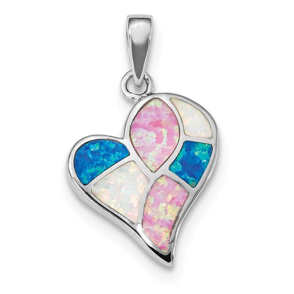 FB Jewels Solid 925 Sterling Silver Rhodium-Plated Created Opal Polished Heart Pendant