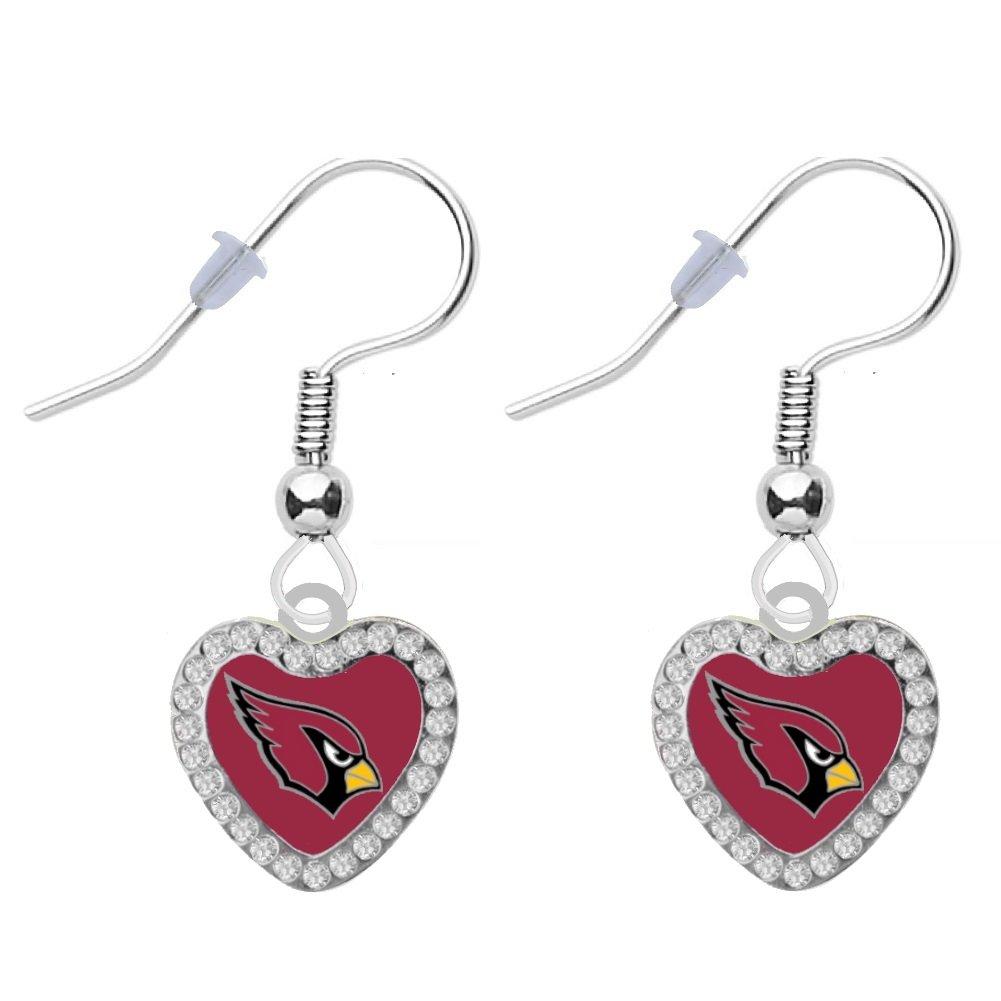 Final Touch Gifts Arizona Cardinals Crystal Heart Earrings Pierced