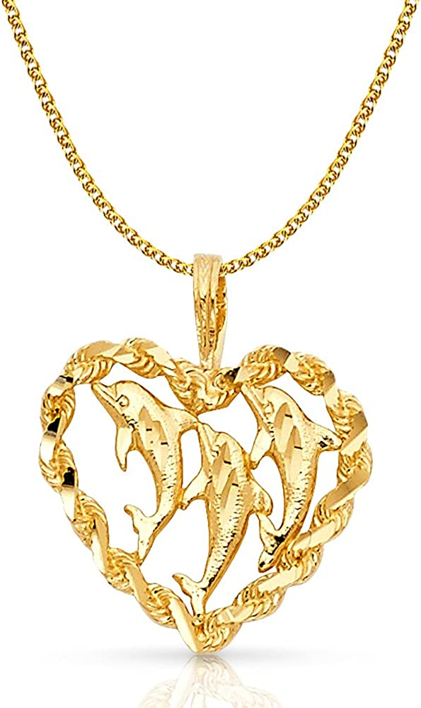 14K Yellow Gold Heart with Dolphin Charm Pendant with 1.7mm Flat Open Wheat Chain Necklace