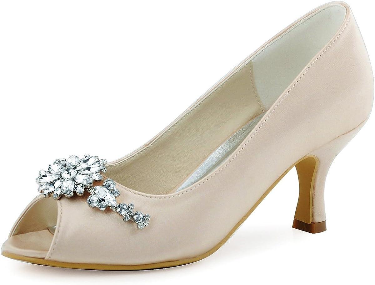 Amazon Com Elegantpark Hp1541 Women Pumps Mid Heel Peep Toe
