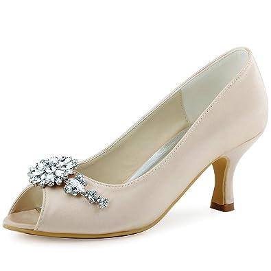 86c829b33869b9 ElegantPark HP1541 Women Pumps Mid Heel Peep Toe Flower Rhinestones Satin  Evening Prom Wedding Shoes Champagne