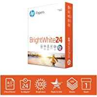 HP Printer Paper BrightWhite 24lb, 8.5x 11, 1 Ream, 500 Sheets, Made in USA From Forest Stewardship Council (FSC) Certified Resources, 100 Bright, Engineered for HP Compatibility, 203000R