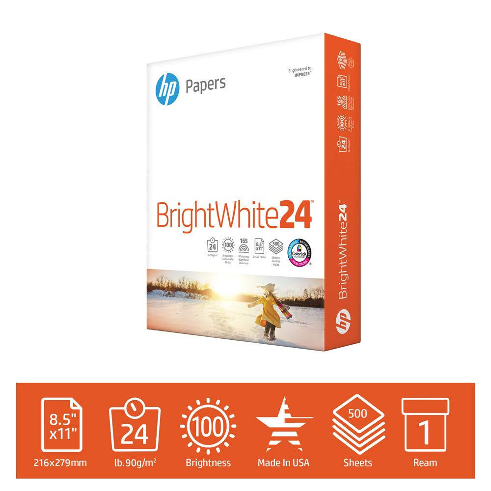 B00000J3LO HP Printer Paper BrightWhite 24lb, 8.5x 11, 1 Ream, 500 Sheets, Made in USA From Forest Stewardship Council (FSC) Certified Resources, 100 Bright, Acid Free, Engineered for HP Compatibility, 203000R 61UGUT9AkfL