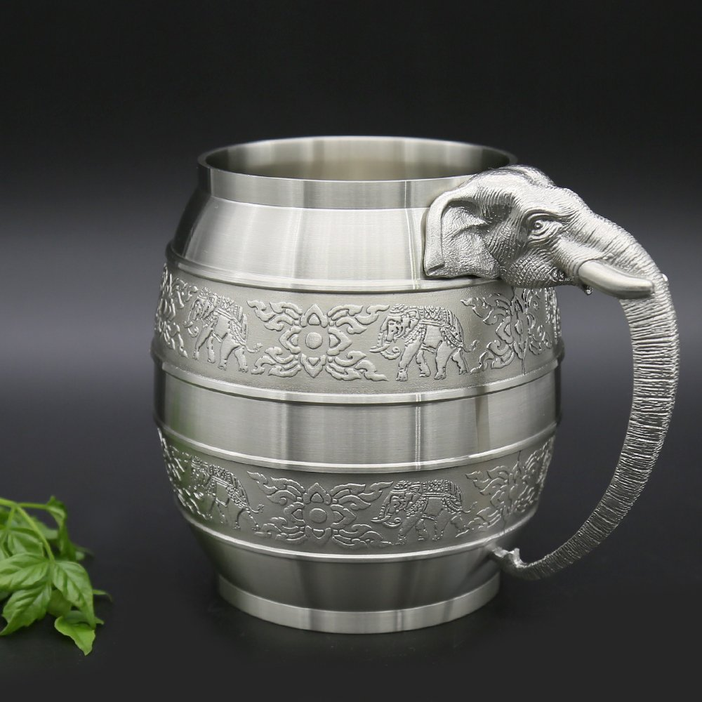 Oriental Pewter - Pewter Beer Mug Pure Tin 97% Lead-Free Pewter BME Hand Carved Beautiful Embossed Handmade in Thailand