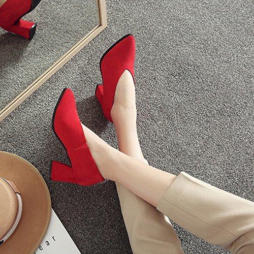 Primavera de 7cm Red DHG Zapatos de de la Zapatos 39 de Los Primavera Temprana de Cuero Los Los Friegan Talones Los Perezosos Zapatos Ásperas Altos OL Las Mujeres la con con qxfw6q7r