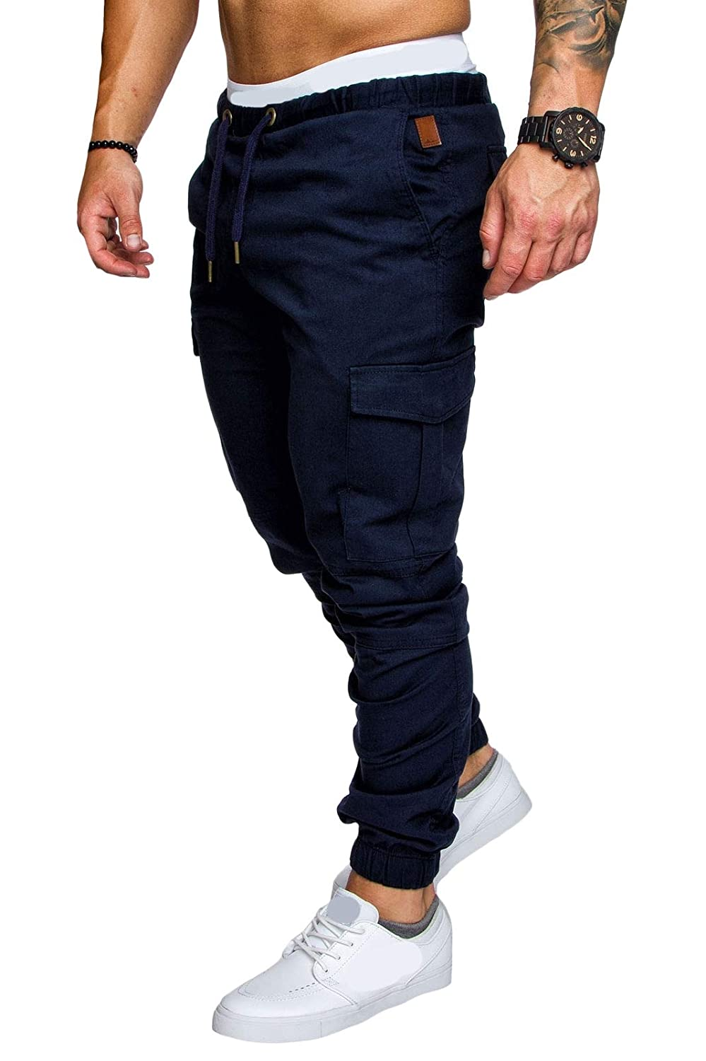 Winwinus Mens Leisure Oversized Solid Elastic Waist Drawstring Sweat Pants