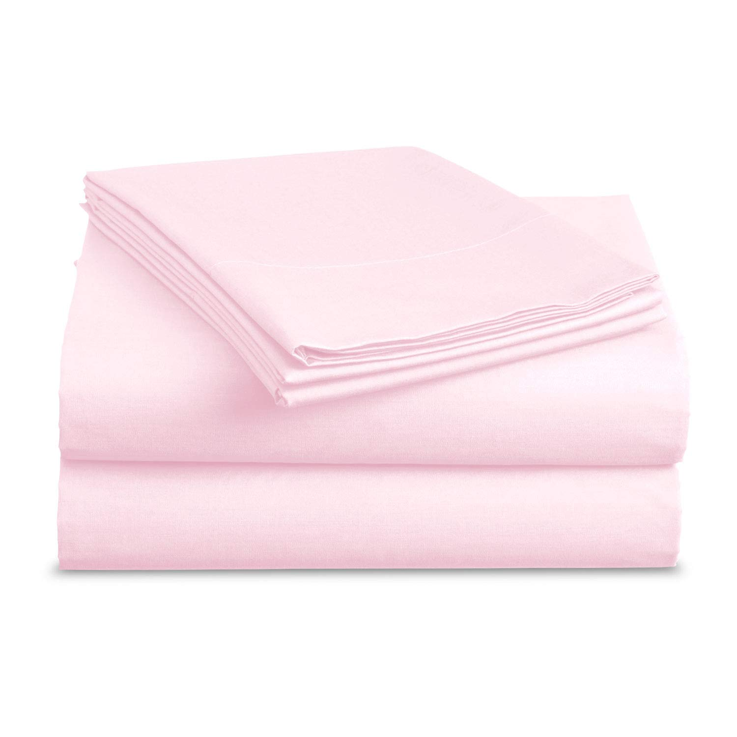 Luxe Bedding Sets - Microfiber Twin Sheet Set 3 Piece Bed Sheets, Deep Pocket Fitted Sheet, Flat Sheet, Pillow Case Twin Size - Baby Pink