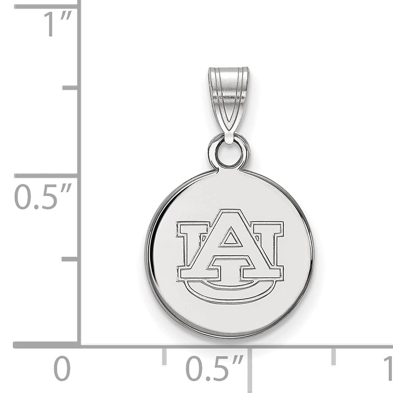 925 Sterling Silver Rhodium-plated Laser-cut Auburn University Small Disc Pendant