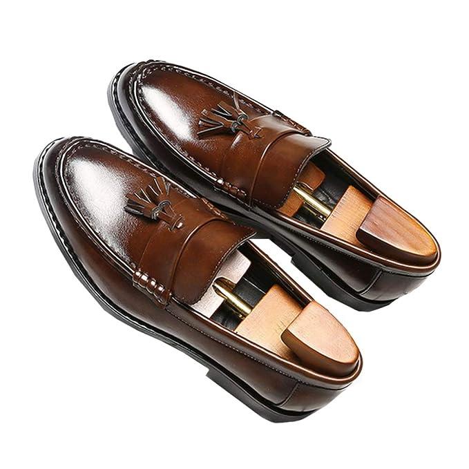 Mocasines Para Hombres Zapatos Casuales Con Borlas Casuales Cómodos Y Ligeros Zapatos De Punta Redonda Mocasines De Cuero Mocasines Antideslizantes Zapatos ...