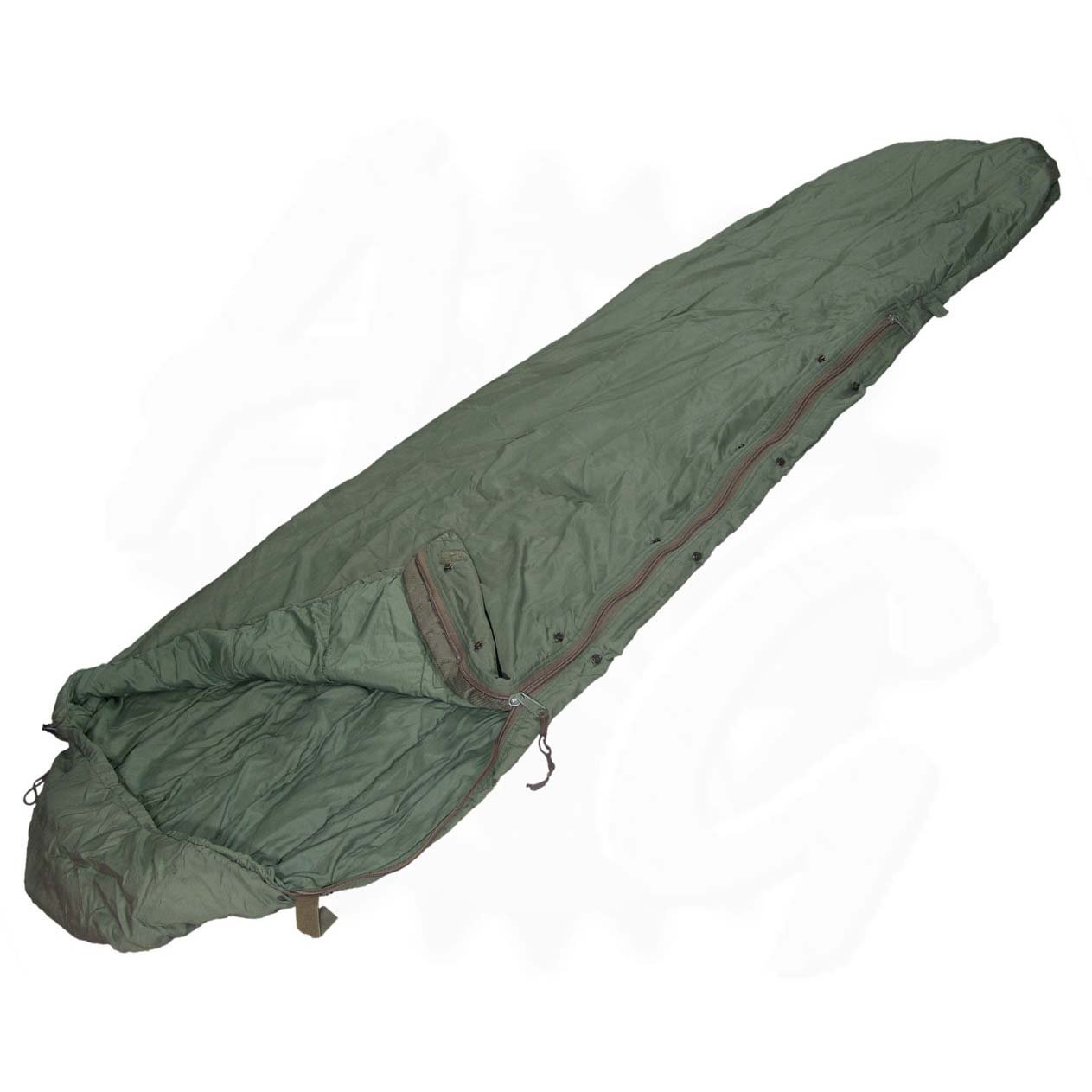 Military Outdoor Clothing Previously Issued U.S. G.I. Olive Drab Patrol Water Repellent Nylon Modular Sleeping Bag