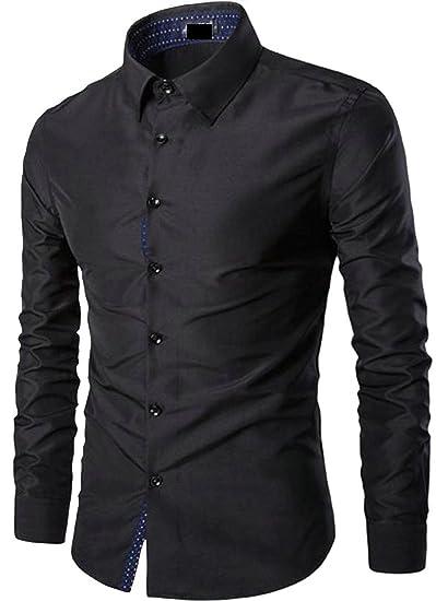 da77c2eb4 Pandapang Men's Long Sleeve Casual Slim Fit Solid Button Down Shirt Black  XXS
