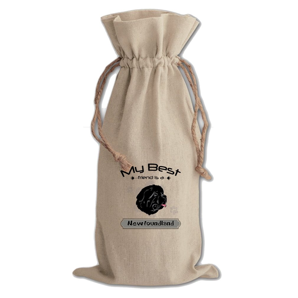 Canvas Wine Drawstring Bag My Best Friend Is Newfoundland Dog Style In Print by Style in Print (Image #1)