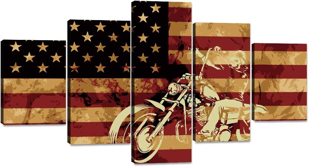 Yatsen Bridge 5 Panel Modern Canvas Motorcycle on American Flag Background Wall Art Painting Posters and Prints Pictures for Living Room, Home Decor Gallery-Wrapped Framed Stretched(60''W x 32''H)