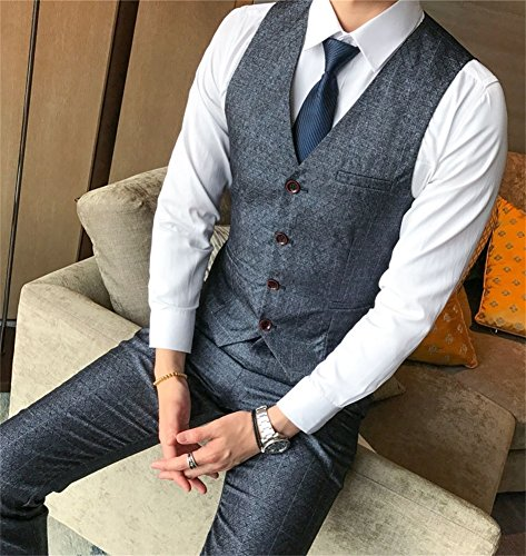 FOLOBE Mens 3-Piece Suit Single Breasted One Button Business Blazer Jacket, Grey by FOLOBE (Image #5)