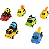 jerryvon Toy Cars Pull-back Vehicles Mini Construction Trucks Toy for Egg Fillers with Excavator Cranes Mixers Dumper Party Favors for Kids 3 Year Old