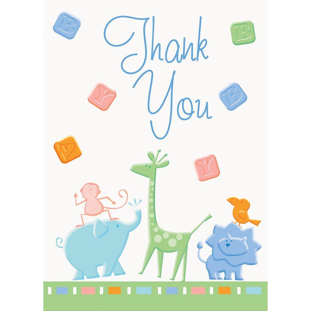 Cracker Animal de 8 cartes de remerciement Inscription Thank You Baby Shower Host 41625