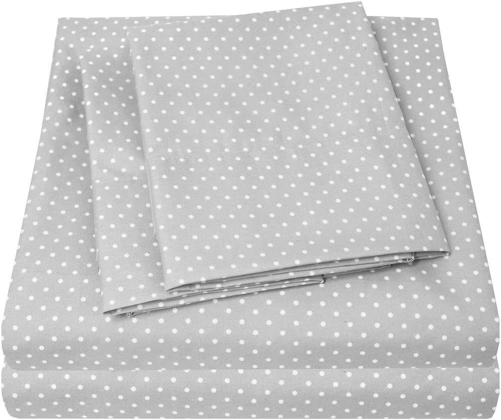 1500 Supreme Collection Bed Sheets - Luxury Bed Sheet Set with Deep Pocket Wrinkle Free Hypoallergenic Bedding - 3 Piece Sheets - Polka DOT Print- Twin, Gray