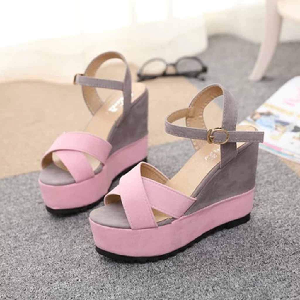 Gyouanime Women High Heel Wedge Platform Sandals Platform Shoes Peep Toe Wedge Sandals Dress Shoes Summer Beach Shoes
