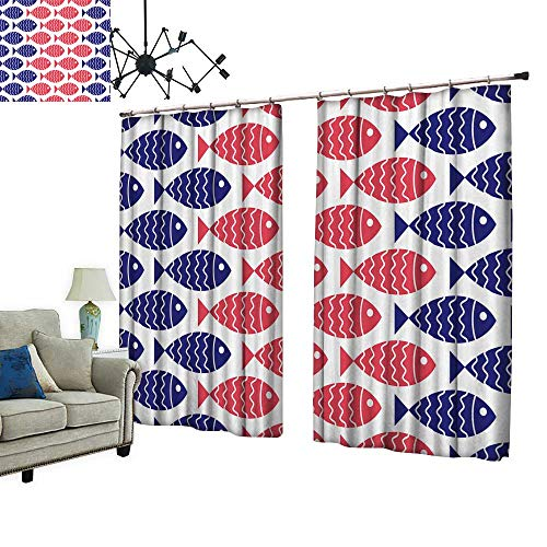 PRUNUS Blackout Curtain with Hook Nautical Fish Design Element for Wallpapers Baby Shower Invitation Nice Bedroom Design,W120 xL72 -