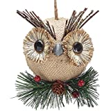 Burlap Owl Christmas Ornaments - Holiday Ornament Gift Decor