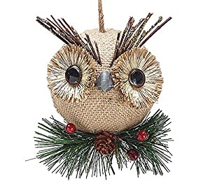 amazoncom burlap owl christmas ornaments holiday