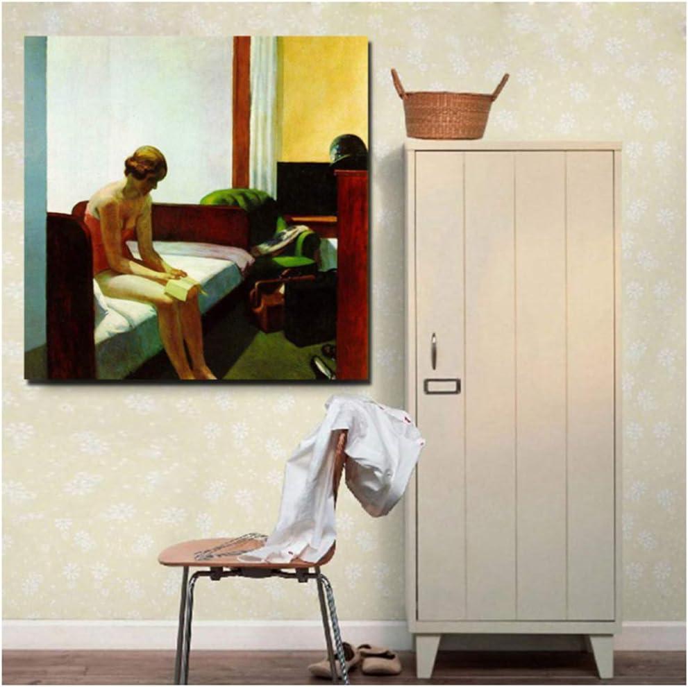Habitación de hotel Edward Hopper Arte de pared Carteles e impresiones en lienzo Pintura sobre lienzo Cuadro decorativo para la sala de estar de la oficina Decoración para el hogar -50x50cm Sin marco
