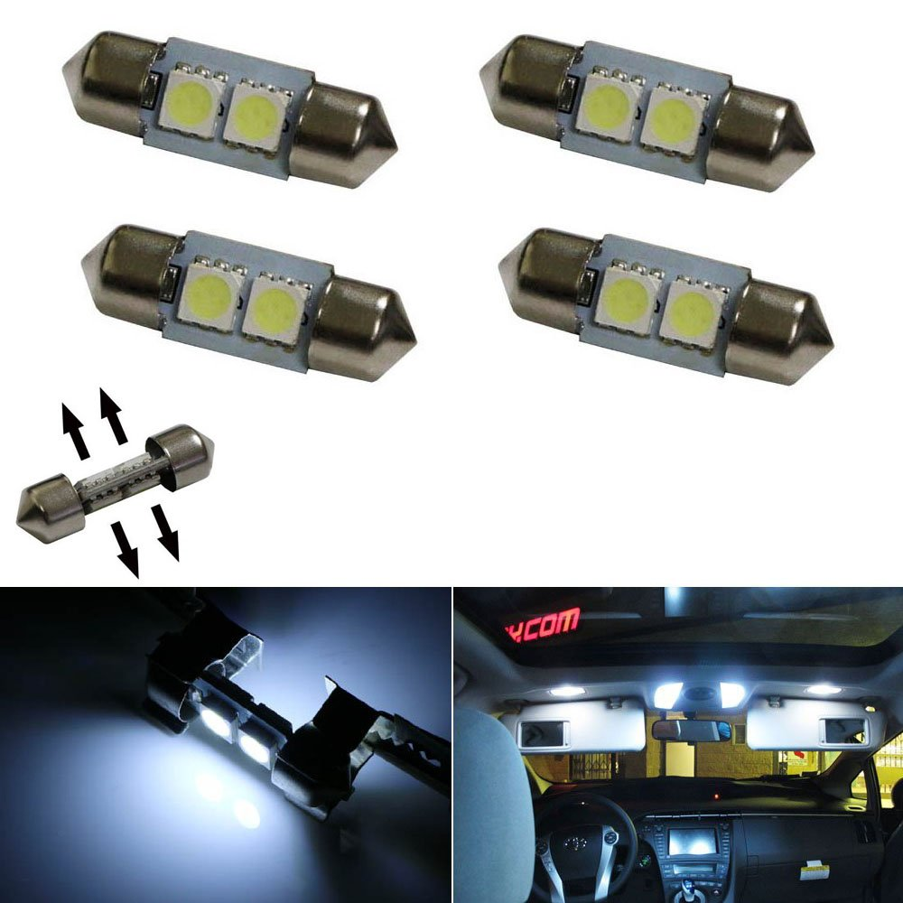 Ijdmtoy 4 Xenon White Smd 125 31mm Led Replacement 1957 Chevy Dome Light Bulb Bulbs For Car Interior Map Lights Automotive