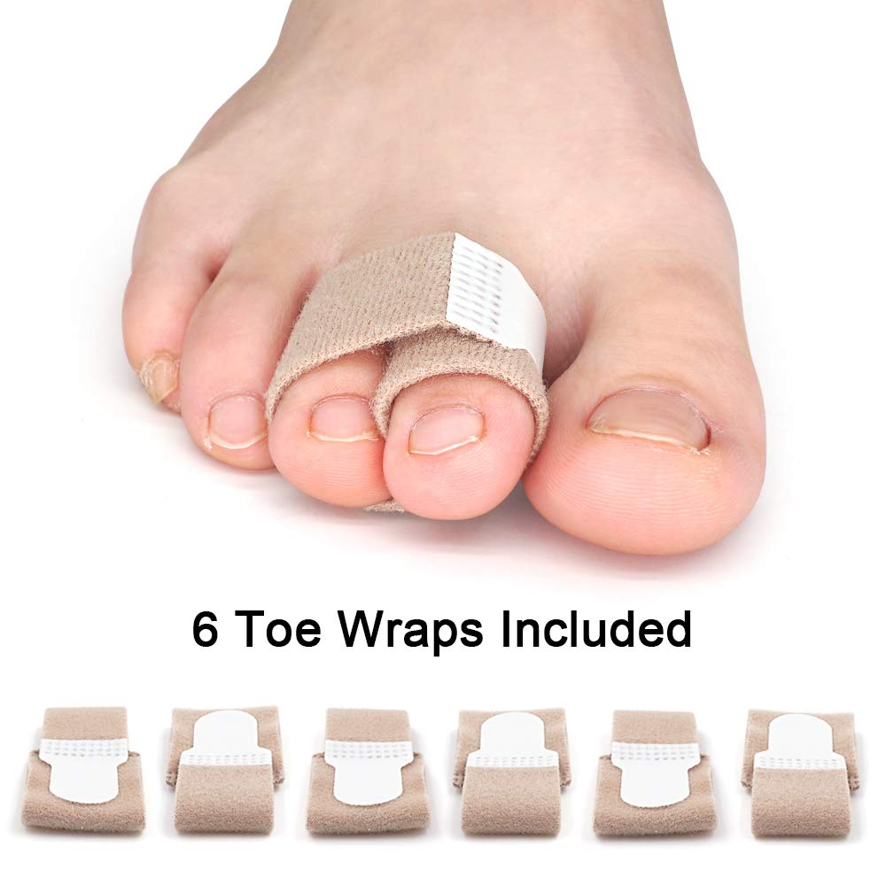 Skyfoot's Broken Toe Wraps Hammer Toe Straight Cushioned Correction Bandages - Pack of 6 Toe Separator Splints