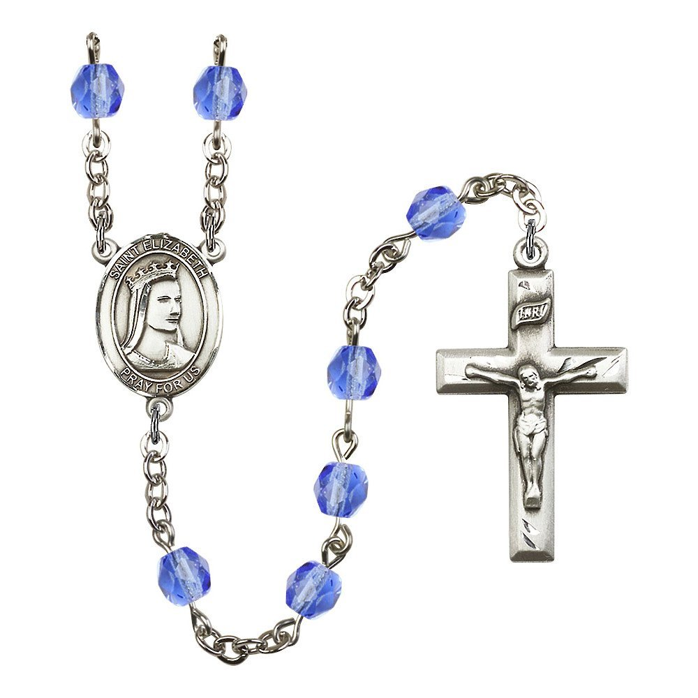Bonyak Jewelry St. Elizabeth of Hungary Silver-Plated Rosary 6mm September Blue Fire Polished Beads Crucifix Size 1 3/8 x 3/4 Medal Charm