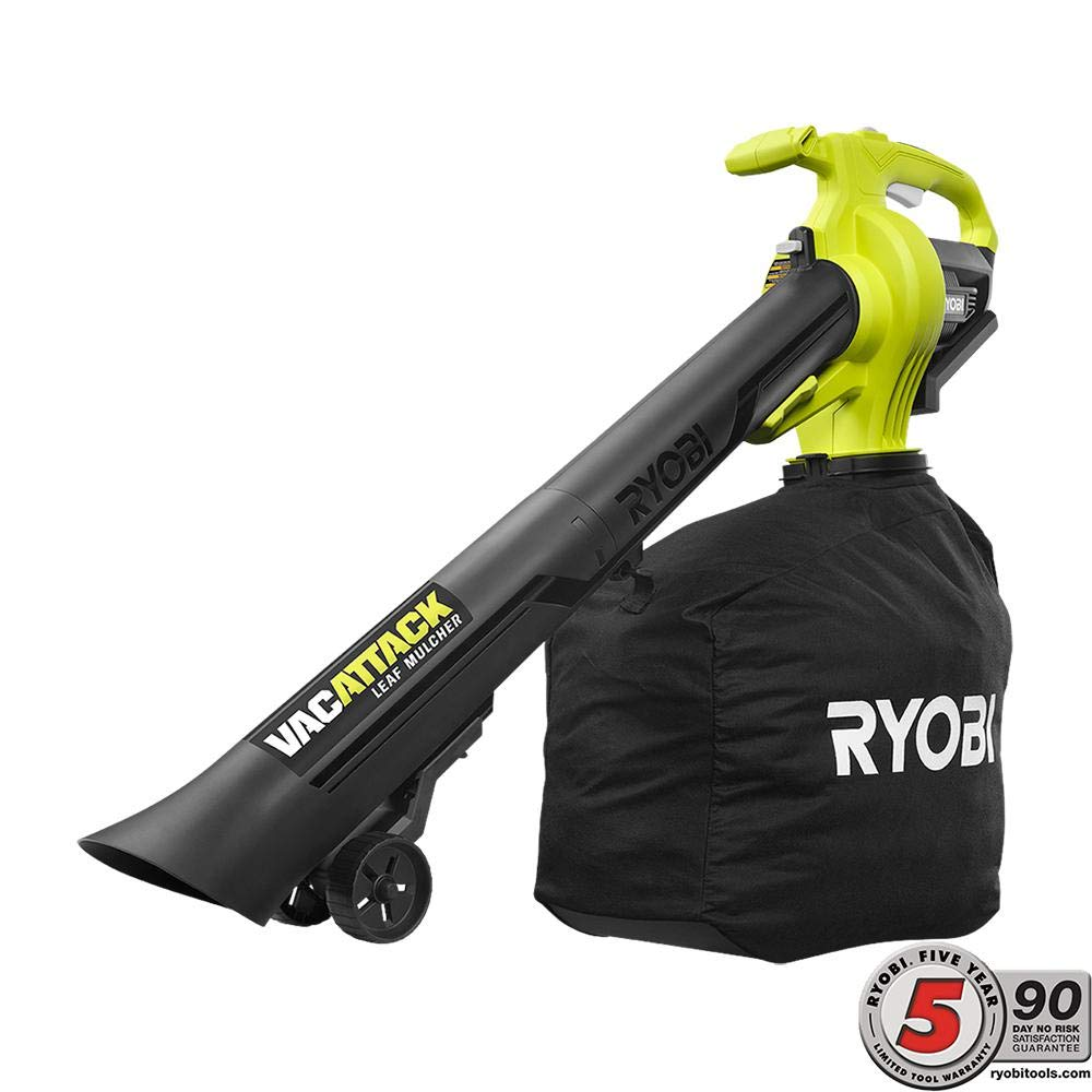 and Heavy Duty Bag RYOBI 40-Volt VacAttack Lithium-Ion Cordless Leaf Vacuum Mulcher with Metal Impeller,Variable Speed Dial Battery and Charger Not Included