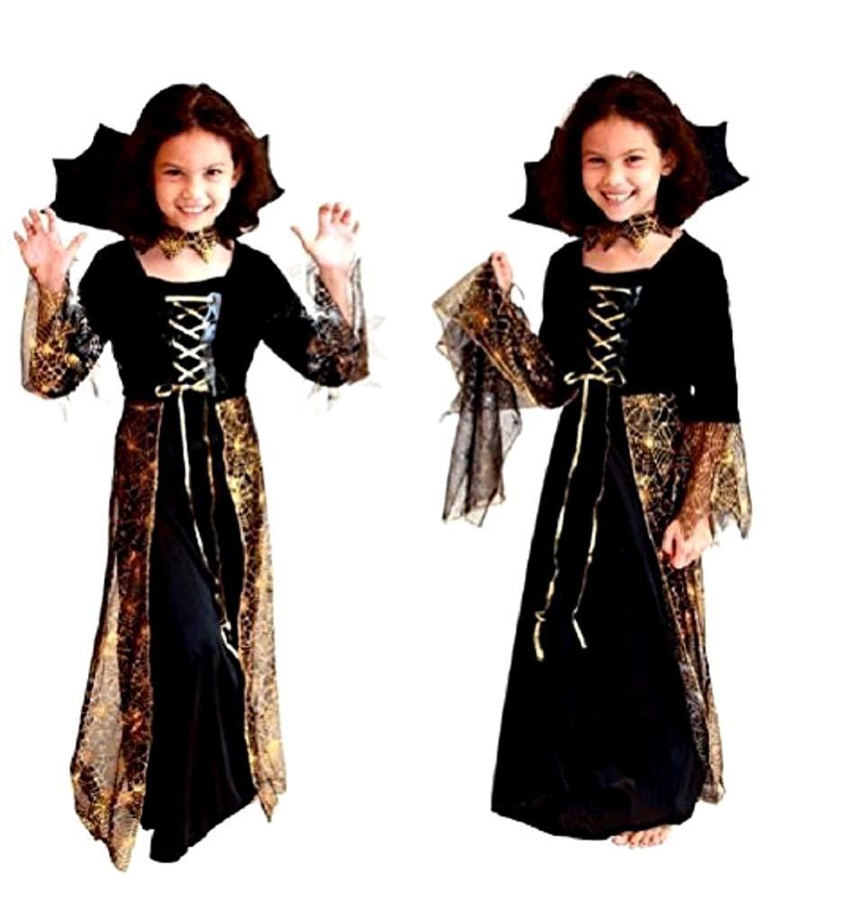 Ragazze SPIDERELLA Halloween Strega Vampiro Costume Bambini Età 4-12 ANNI