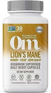 Om Organic Mushroom Nutrition Lion's Mane Mushroom Superfood Daily Boost Capsule, 90 Count