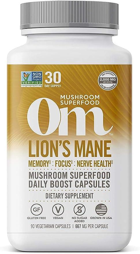 Om Lions Mane Mushroom Capsules, Memory Support, Focus, Clarity & Nerve Health, Mushroom Supplement, 2000mg dose, 90 Count (30 Day Supply), Vegan