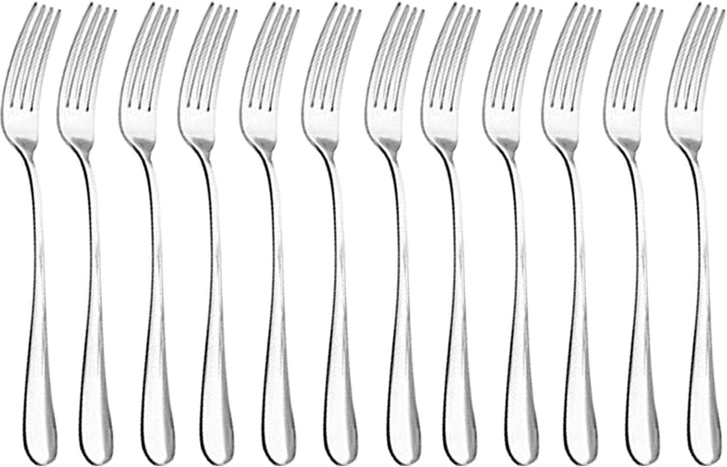 Qucher - Cubertería (tenedores de 18,2 cm, cuchillos de carne de 22,8 cm, cucharas largas de 19 cm, cucharas para sopa de 16,5 cm)