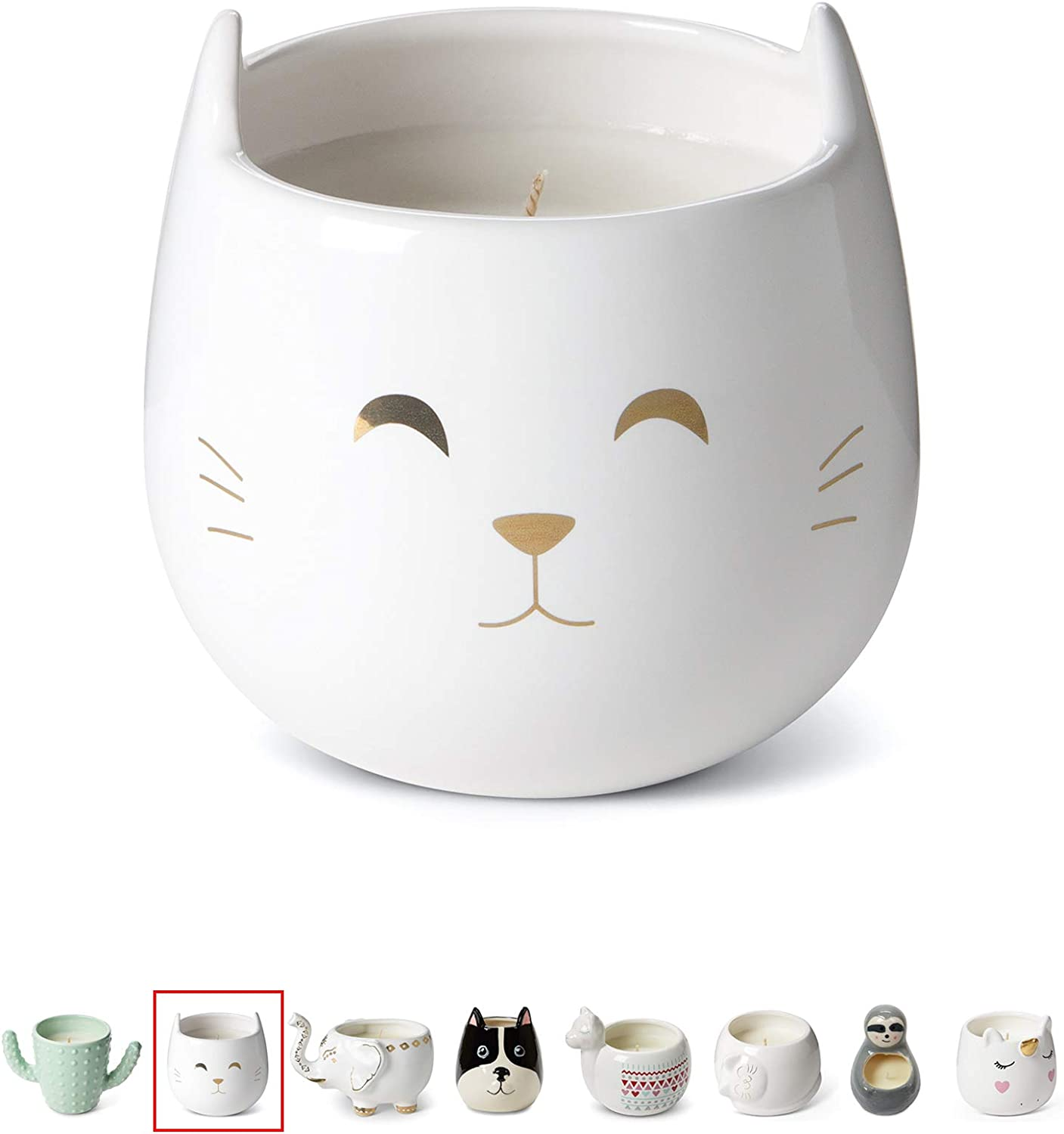 Tri-Coastal Design Small Cute Scented Wax Candles Ceramic Cat Shaped Candle for Aromatherapy, Stress Relief and Relaxation - Calming Vanilla Caramel Aroma Scented Luxury Candle - 12 Oz - White Cat