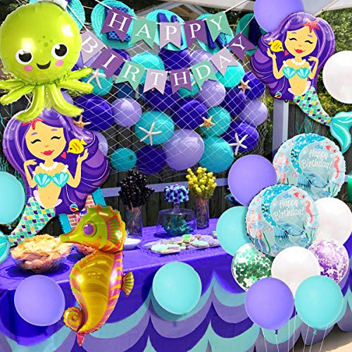 Mermaid Party Decorations and Supplies Kit Mermaid Balloons Under the Sea Balloons Fish Net for Girls Under the Sea Birthday Baby Shower Decor ()