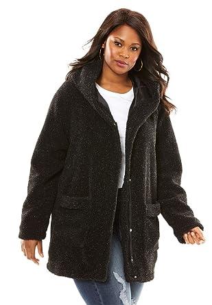 5b8caeb3d76 Roamans Women s Plus Size Hooded Textured Fleece Coat at Amazon ...