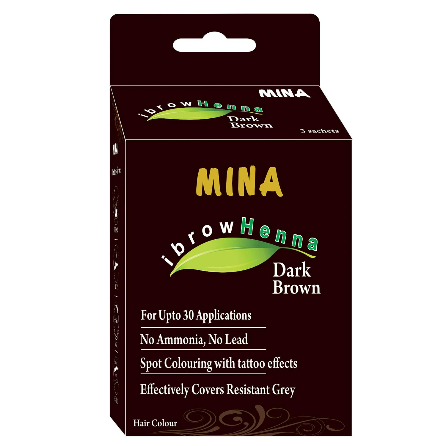 Mina Eyebrow Henna Dark Brown Regular Pack & Tinting Kit For Brow Dye