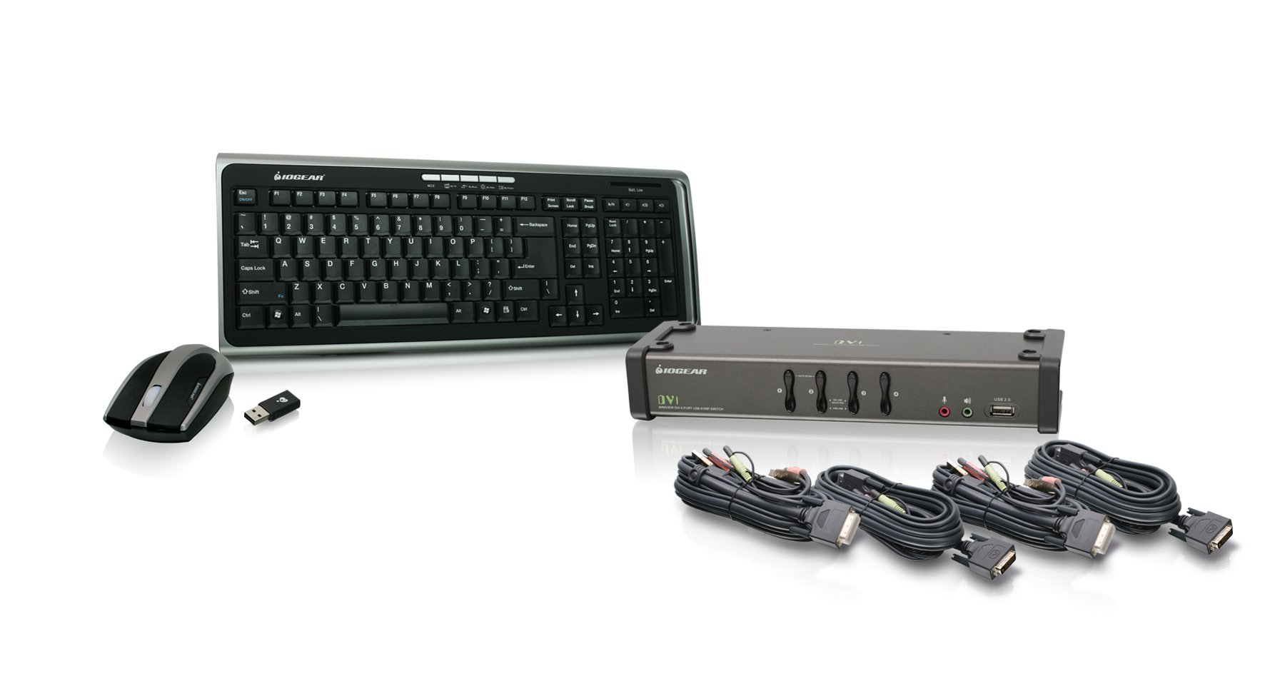 IOGEAR 4-Port DVI KVMP Switch with Cables and Wireless Media Center Keyboard and Mouse, GCS1104-KM1 by IOGEAR