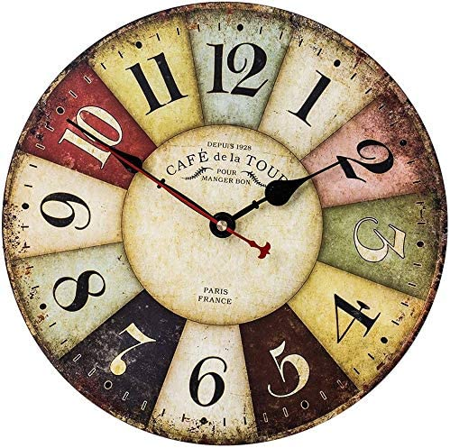 Vintage Wall Clock, French Art Decor Wooden Clock with Colorful Arabic Numerals, Silent Non-Ticking Battery Operated Indoor Home Clock for Living Room, Bedroom, Kitchen, Cafe Bar – 18 Inch, Paris