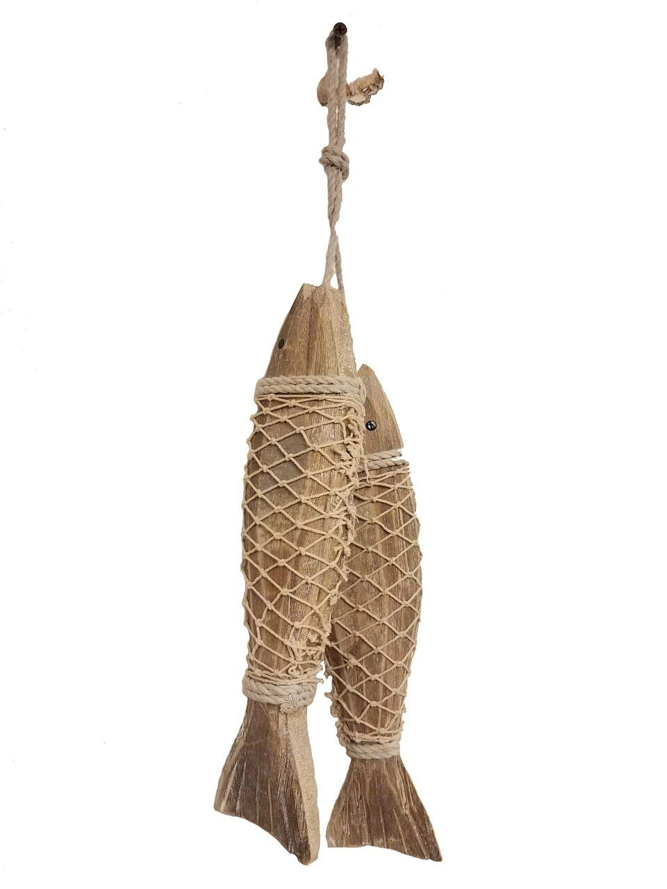 HANDCARVED Distressed Rustic Style Wood Indoor//Outdoor Hanging Fish! 2 All Seas Imports Large Set of