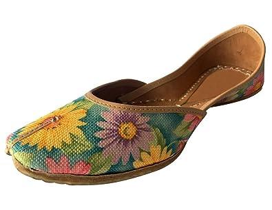 Schritt N Style Frauen Schuhe Handgefertigt Flip Flops, traditionelle Juti Kameez Khussa, mehrfarbig - Größe: 36