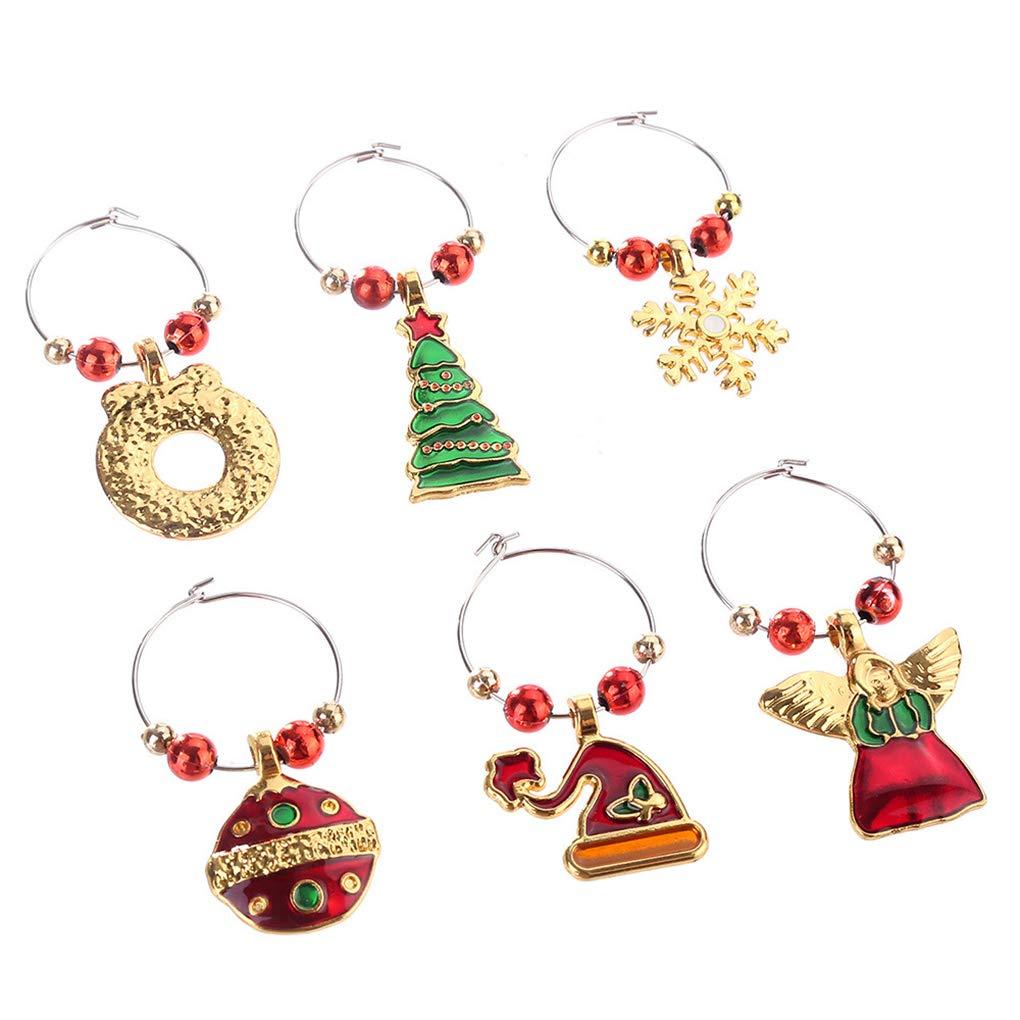 Minzhi 6pcs Weihnachts Ring Weinglas Dekoration-Partei-Jahr-Cup Ring ...