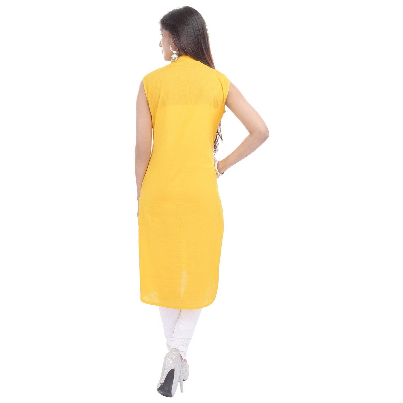 Chichi Indian Women Kurta Kurti Sleeve Less XX-Large Size Plain Straight Yellow Top by CHI (Image #4)