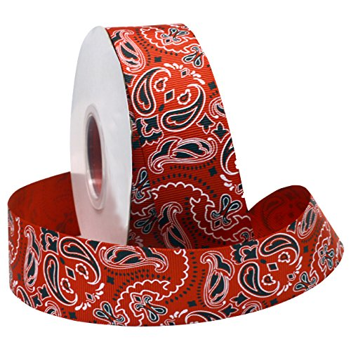 Morex Ribbon Bandana Grosgrain Fabric Ribbon with 1-1/2-Inch by 25-Yard Spool, Red -