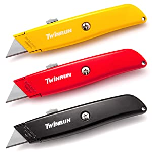 TWINRUN Retractable Utility Knife Box Cutter with Durable Metal Handle Smooth Multi-Position Blade Locking Saddle, 3-Pack Set in Yellow, Red and Black