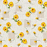 Round Tablecloth 55-inch wide | YELLOW Floral Garden Vinyl Indoor & Outdoor Table Cover