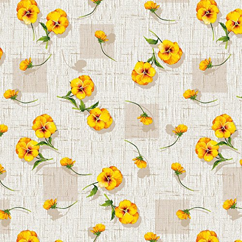 Round Tablecloth 55-inch wide | YELLOW Floral Garden Vinyl Indoor & Outdoor Table Cover by Maxy Home