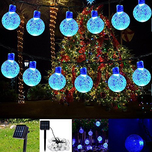 Updated Version Solar String Lights Globe- Two-Way Charging (Solar & USB Charge) Crystal Balls Waterproof Fairy Lights with Remote Control – 26ft 40LED String Light